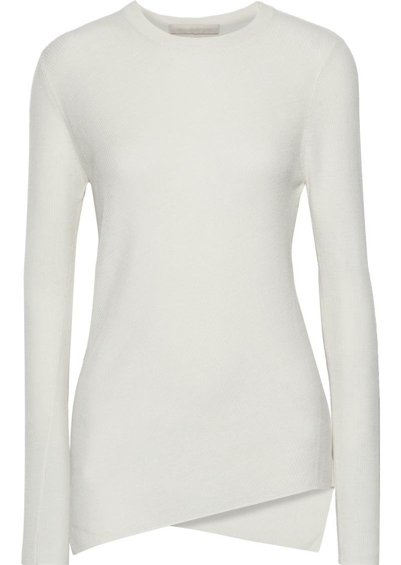 Vanessa Bruno Woman Asymmetric Ribbed Wool Sweater Ivory