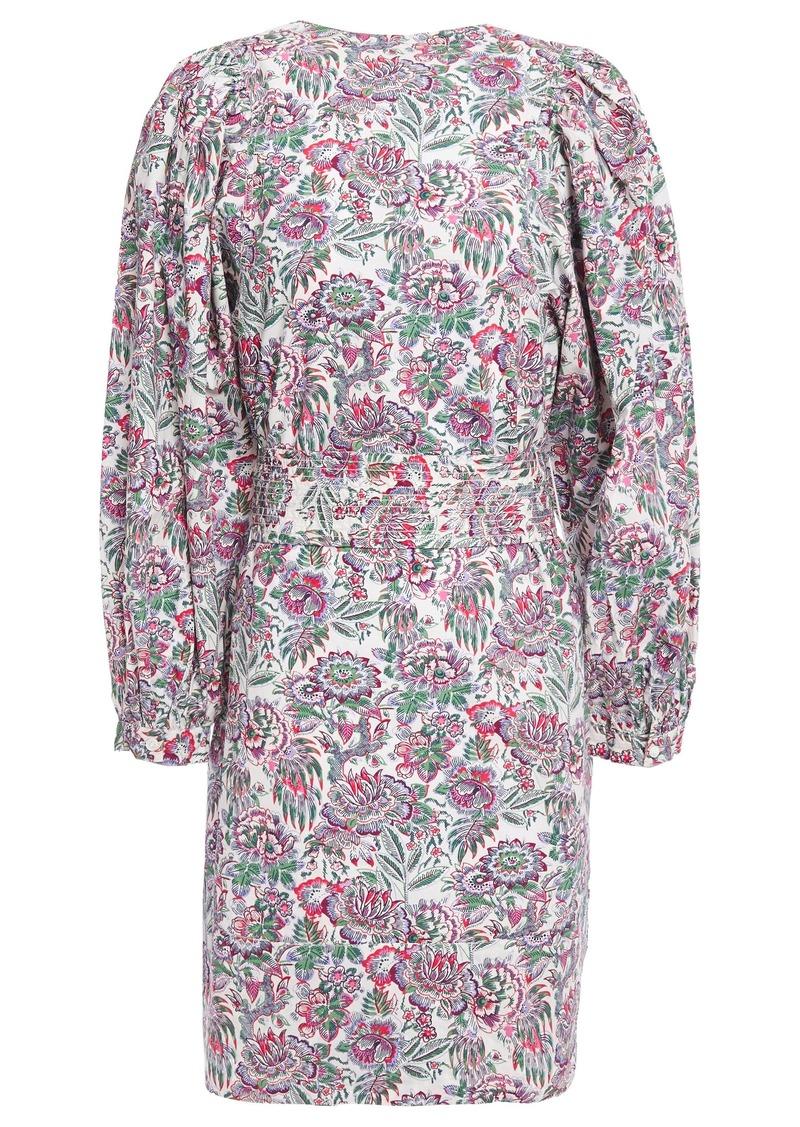 Vanessa Bruno Woman Belted Floral-print Cotton-poplin Mini Dress White
