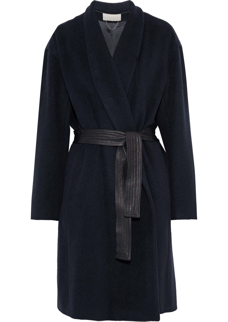 Vanessa Bruno Woman Belted Leather-trimmed Alpaca And Wool-blend Coat Midnight Blue