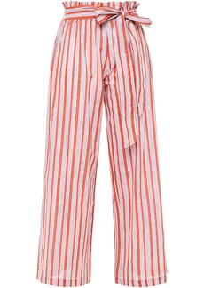 Vanessa Bruno Woman Iyad Belted Striped Cotton And Lurex-blend Wide-leg Pants Tomato Red
