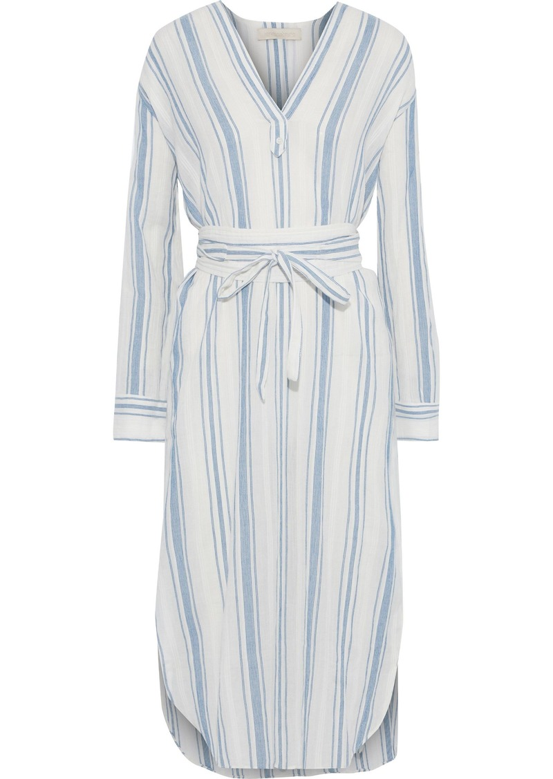 Vanessa Bruno Woman Belted Striped Cotton-gauze Midi Dress White