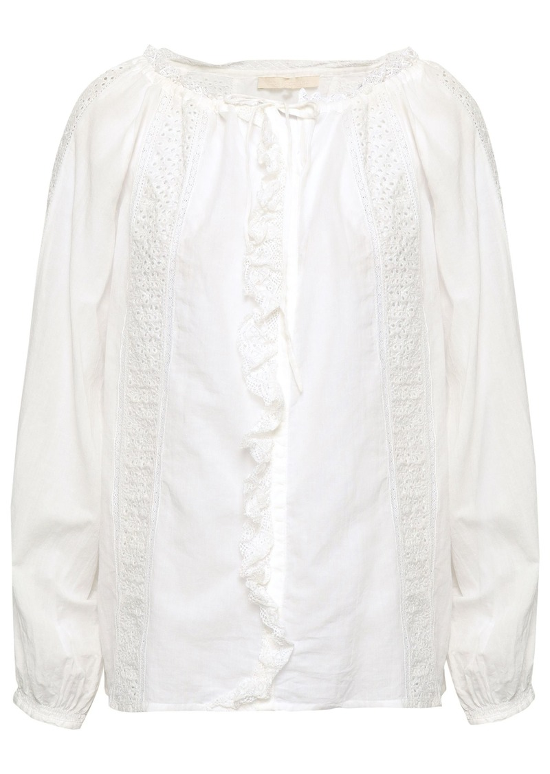 Vanessa Bruno Woman Broderie Anglaise-trimmed Cotton-blend Blouse White