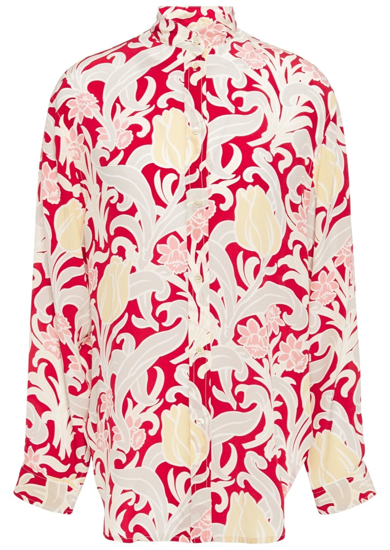 Vanessa Bruno Woman Carmin Floral-print Silk-satin Crepe Shirt Red