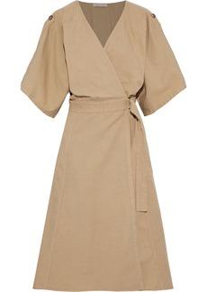 Vanessa Bruno Woman Cotton Linen And Tencel-blend Twill Midi Wrap Dress Beige