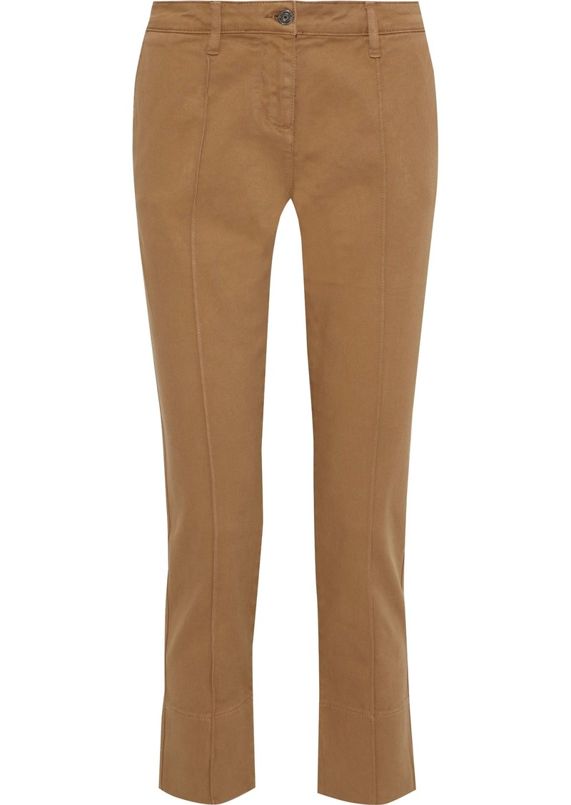 Vanessa Bruno Woman Cropped Cotton-blend Twill Straight-leg Pants Light Brown