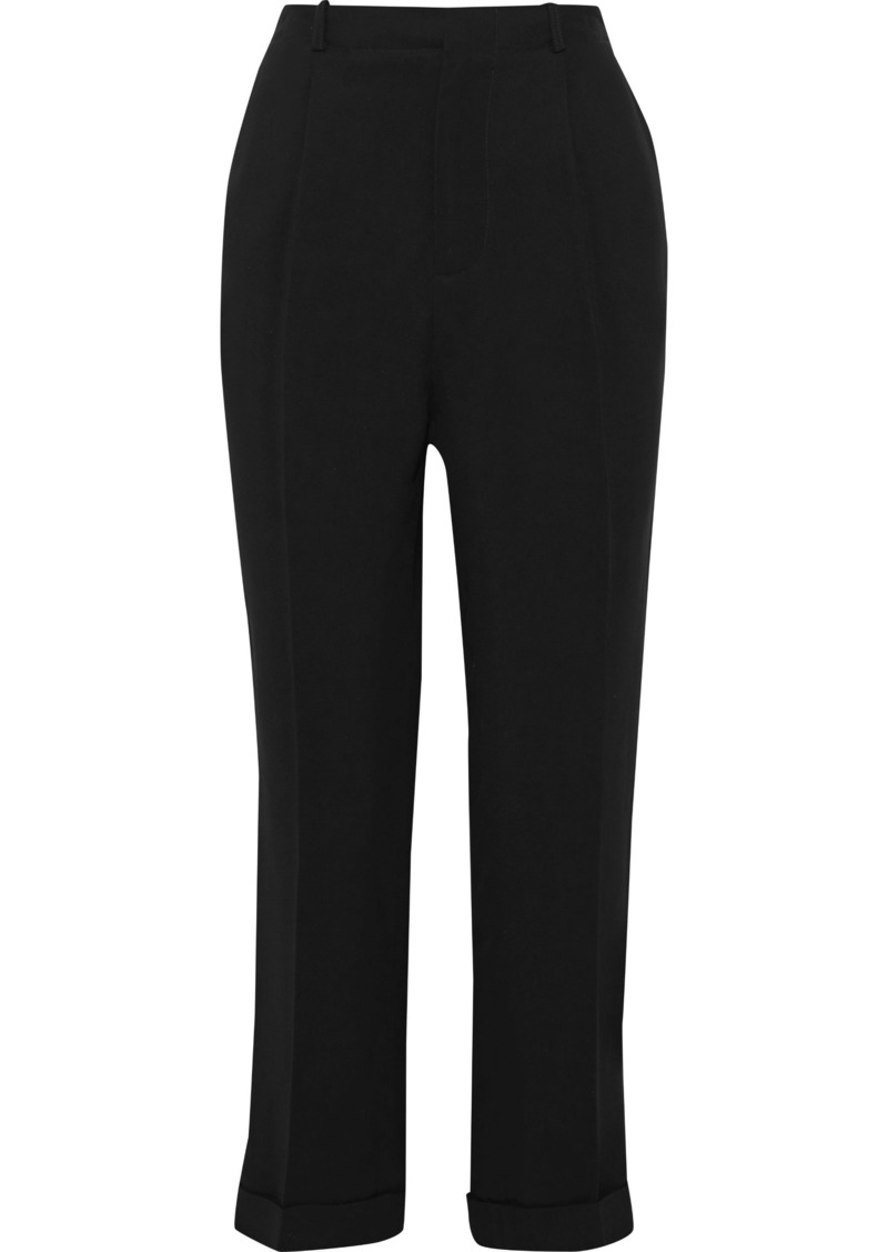 Vanessa Bruno Woman Cropped Satin-trimmed Crepe Straight-leg Pants Black
