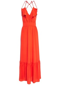 Vanessa Bruno Woman Leda Crochet-trimmed Ruffled Silk Crepe De Chine Maxi Dress Bright Orange
