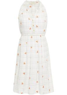Vanessa Bruno Woman Embroidered Checked Cotton And Lurex-blend Mini Dress Ecru