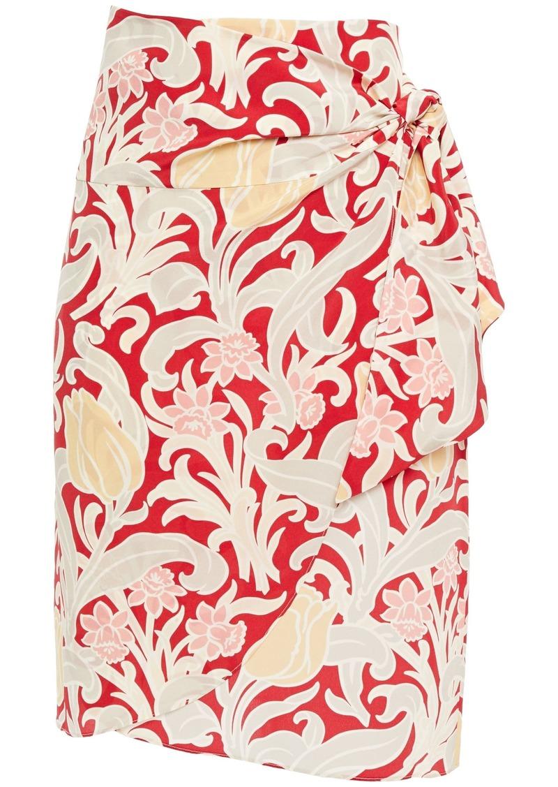 Vanessa Bruno Woman Floral-print Silk Crepe De Chine Wrap Skirt Red