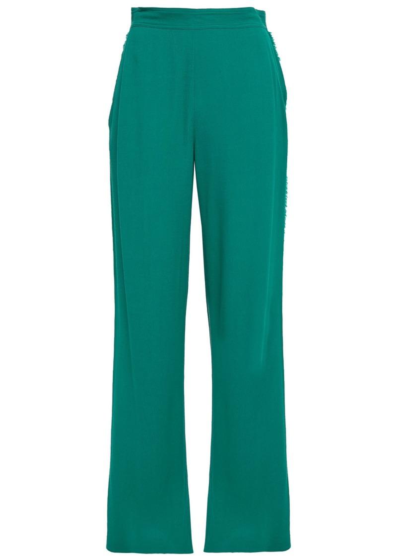 Vanessa Bruno Woman Frayed Crepe Wide-leg Pants Jade