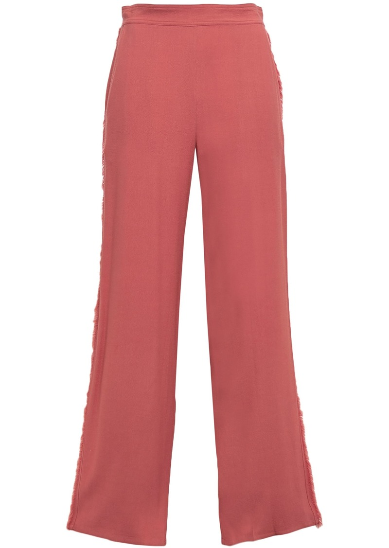 Vanessa Bruno Woman Frayed Crepe Wide-leg Pants Antique Rose