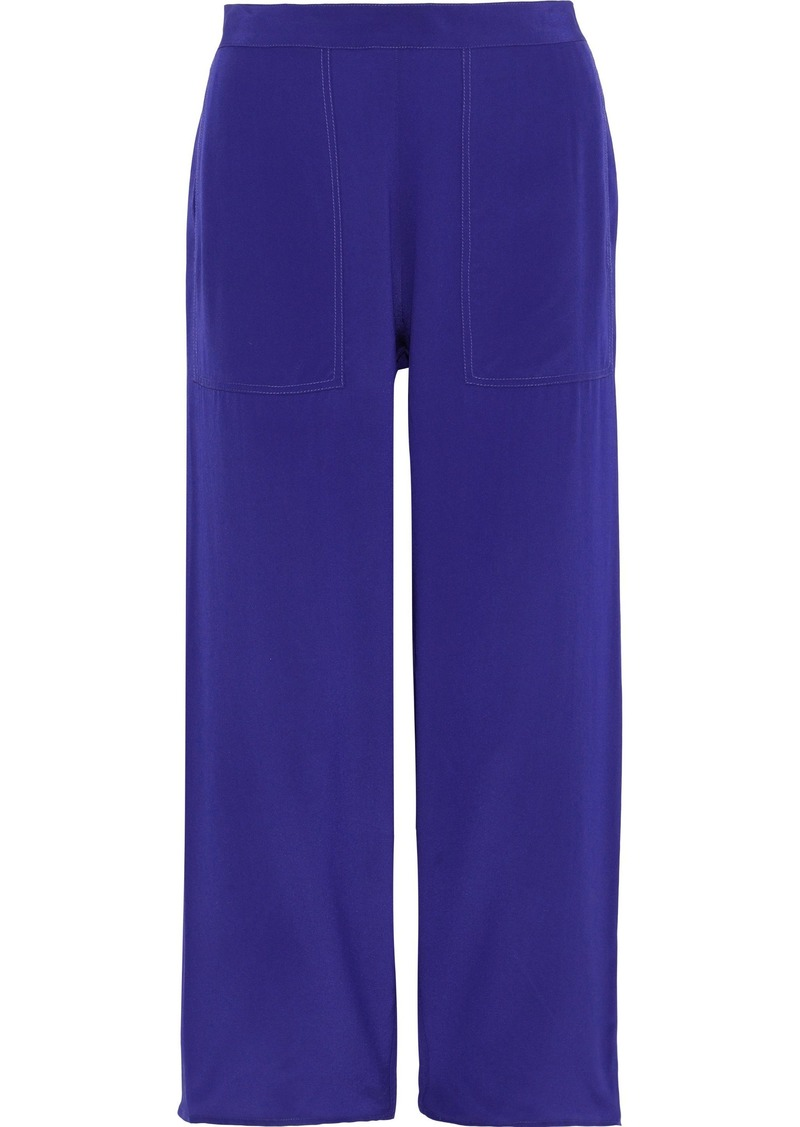 Vanessa Bruno Woman Galien Cropped Silk Wide-leg Pants Royal Blue