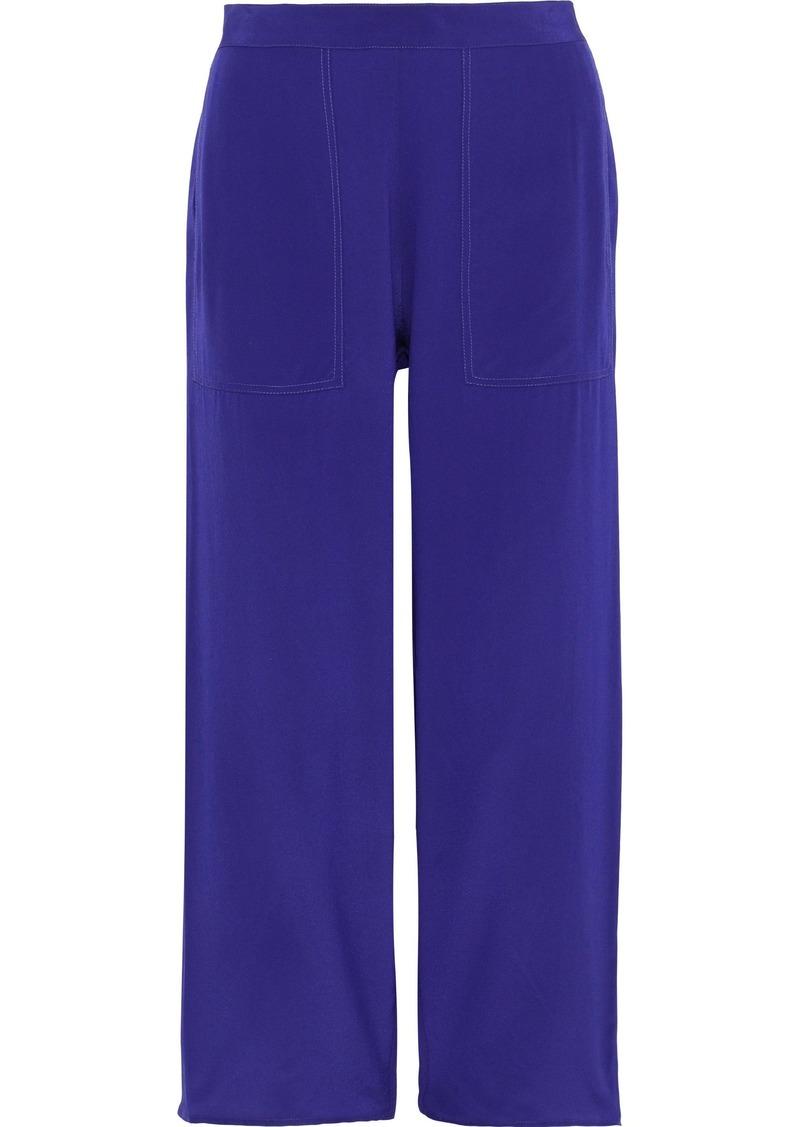 Vanessa Bruno Woman Galien Cropped Silk Wide-leg Pants Royal Blue