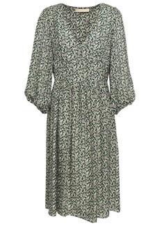 Vanessa Bruno Woman Gathered Floral-print Silk-seersucker Dress Dark Green