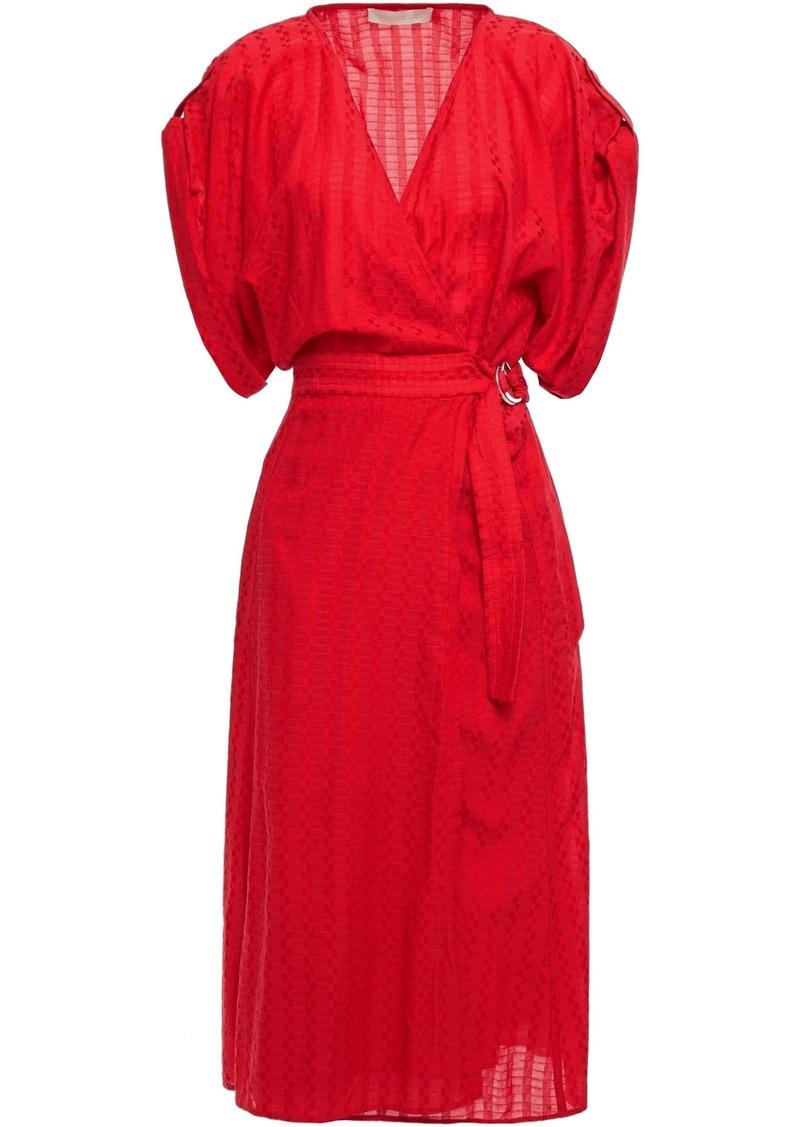 Vanessa Bruno Woman Gathered Jacquard Midi Wrap Dress Red