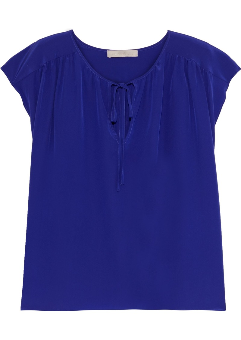 Vanessa Bruno Woman Gathered Silk Crepe De Chine Top Indigo