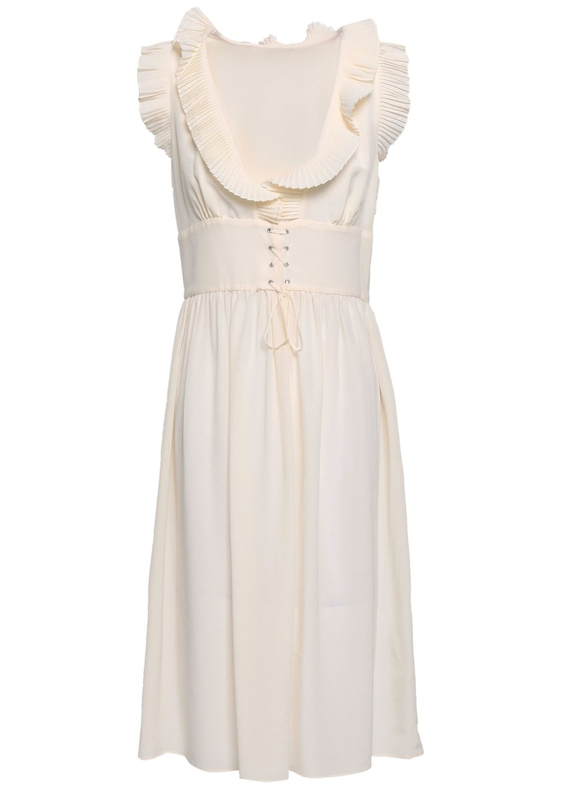 Vanessa Bruno Woman Gimmy Lace-up Ruffle-trimmed Silk Crepe De Chine Dress Cream
