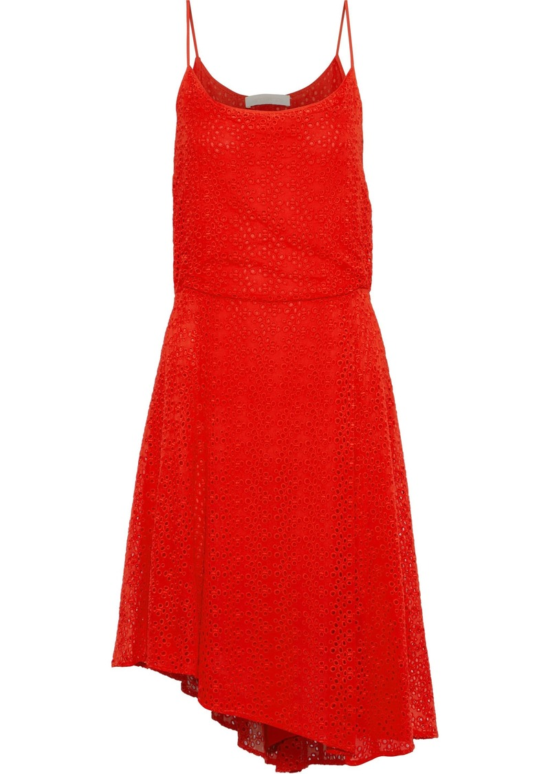 Vanessa Bruno Woman Gislain Asymmetric Pleated Broderie Anglaise Dress Tomato Red