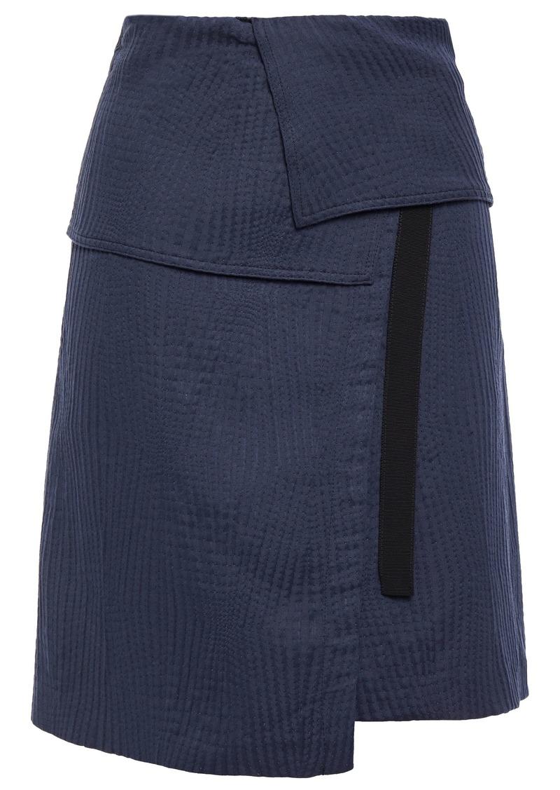 Vanessa Bruno Woman Grosgrain-trimmed Woven Mini Wrap Skirt Navy