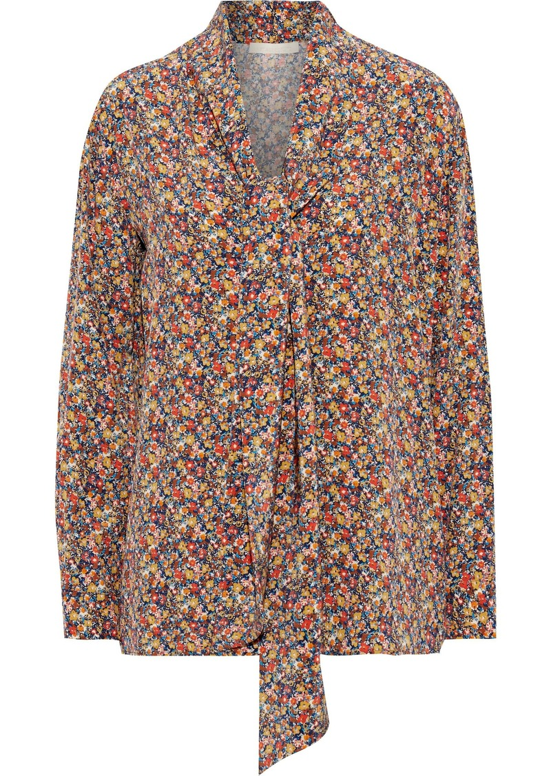 Vanessa Bruno Woman Heythem Tie-neck Floral-print Silk Crepe De Chine Blouse Multicolor