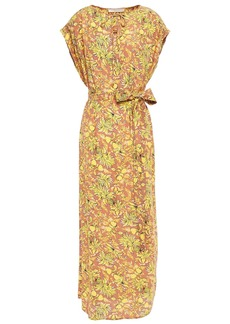 Vanessa Bruno Woman Icreme Belted Floral-print Crepe Midi Dress Antique Rose