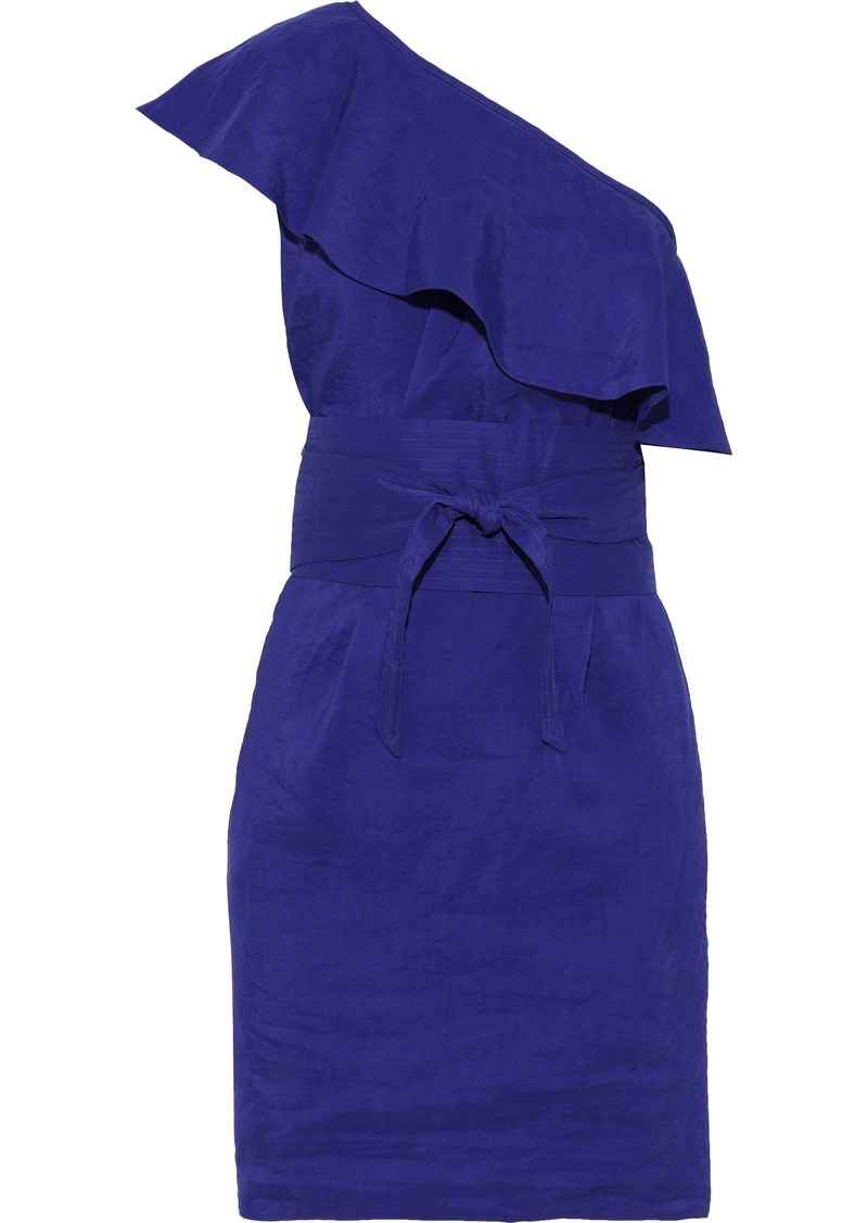 Vanessa Bruno Woman Ilesse One-shoulder Ruffled Seersucker Mini Dress Royal Blue