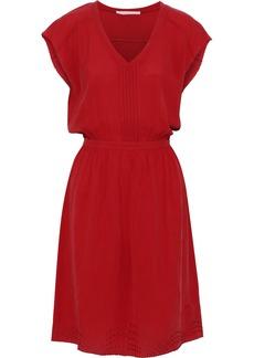Vanessa Bruno Woman Inaya Pintucked Embroidered Seersucker Dress Red