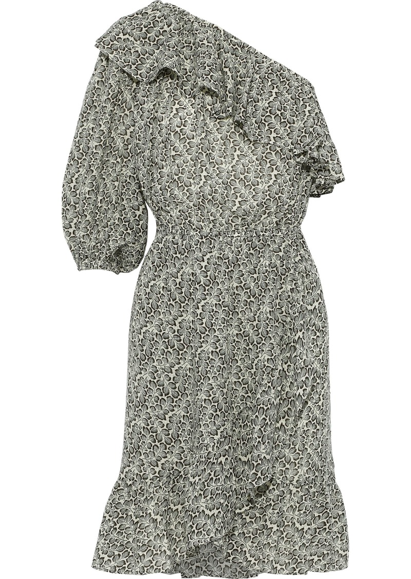 Vanessa Bruno Woman Inne One-shoulder Ruffled Printed Gauze Dress Light Green