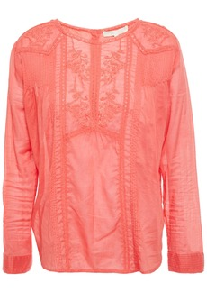 Vanessa Bruno Woman Inzo Crochet-trimmed Embroidered Cotton-voile Blouse Coral