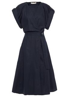 Vanessa Bruno Woman Iron Cotton Linen And Tencel-blend Wrap Dress Midnight Blue