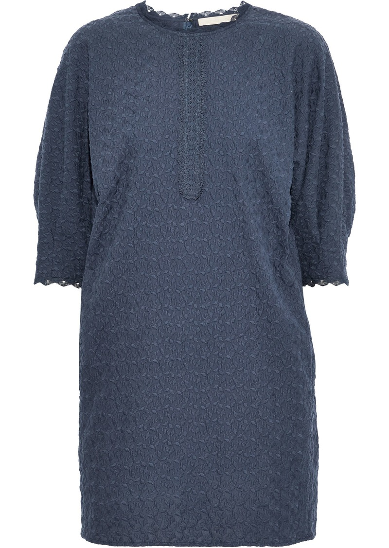 Vanessa Bruno Woman Isolde Embroidered Cotton-gauze Mini Dress Navy