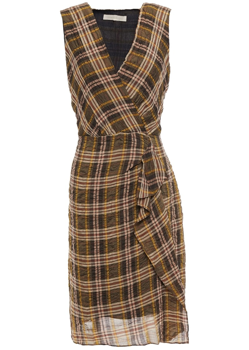 Vanessa Bruno Woman Itana Wrap-effect Checked Crinkled-voile Mini Dress Light Brown