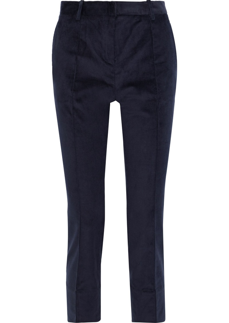 Vanessa Bruno Woman Jame Cropped Cotton-blend Corduroy Slim-leg Pants Midnight Blue
