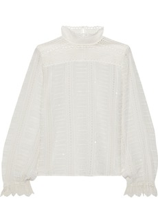 Vanessa Bruno Woman Jocea Crochet-paneled Embellished Broderie Anglaise Blouse Ivory