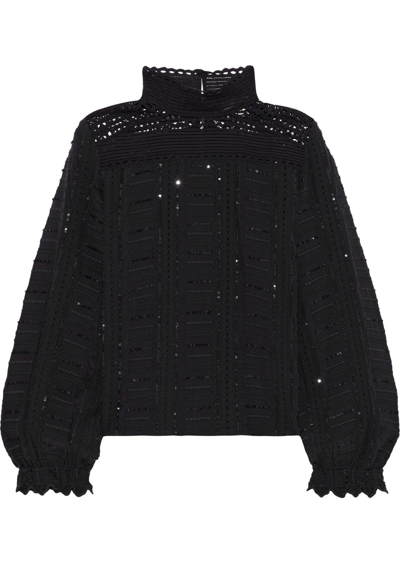 Vanessa Bruno Woman Jocea Crochet-paneled Embellished Broderie Anglaise Blouse Black
