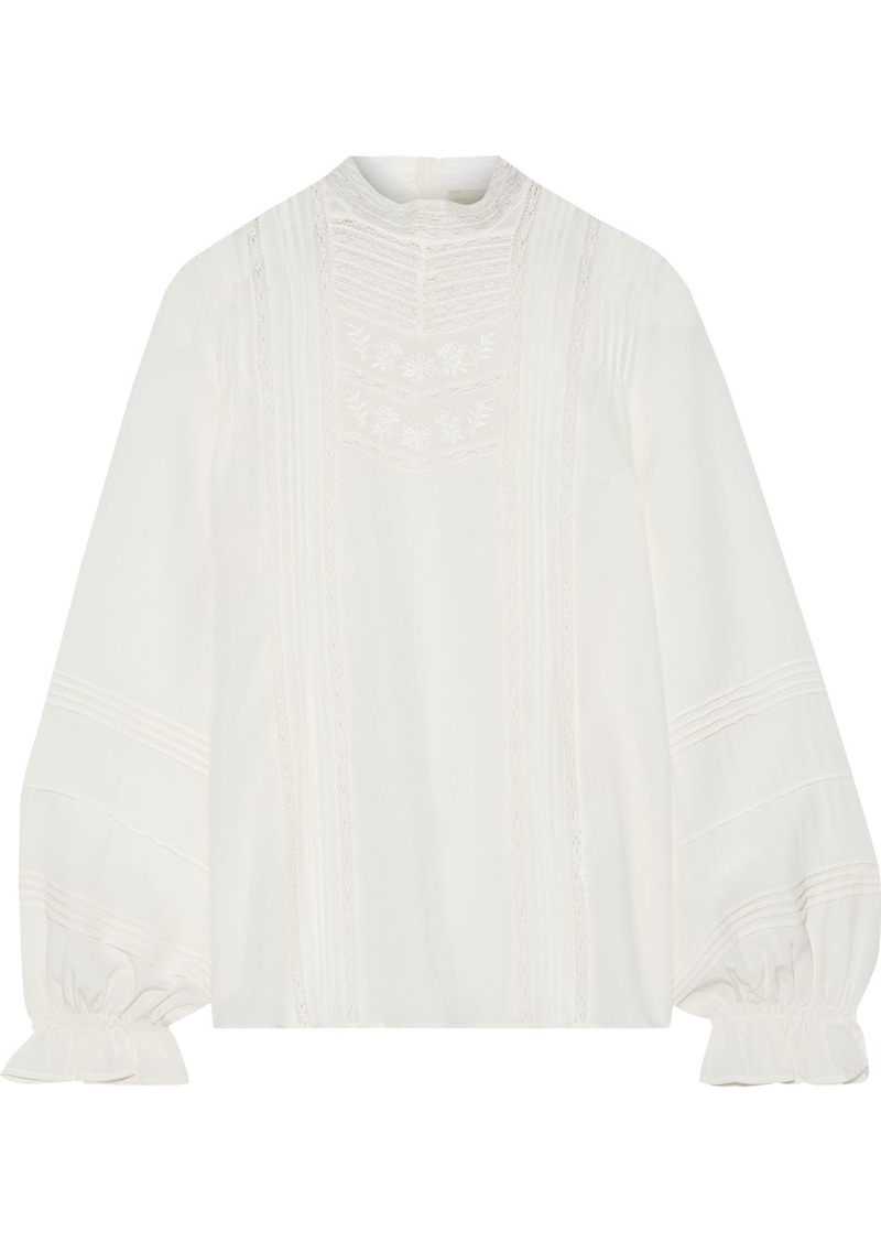 Vanessa Bruno Woman Joia Embroidered Silk Crepe De Chine Blouse Ivory