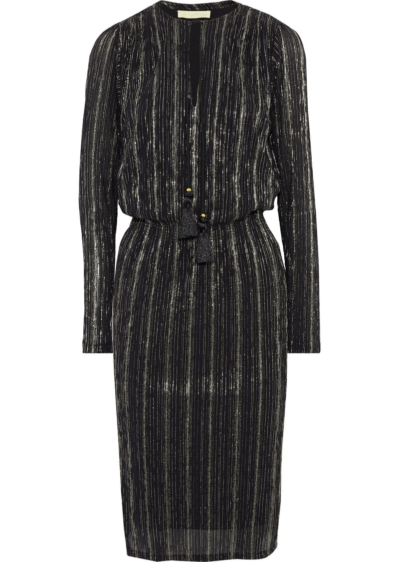 Vanessa Bruno Woman Jossua Metallic Striped Gauze Dress Black