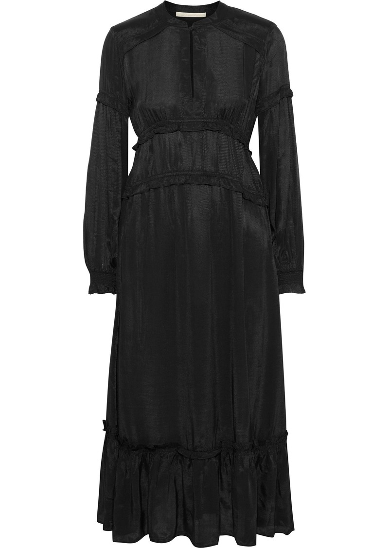 Vanessa Bruno Woman Judikaelle Ruffled-trimmed Satin-twill Midi Dress Black