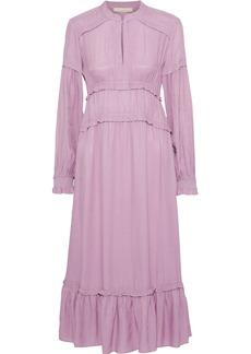 Vanessa Bruno Woman Judikaelle Ruffled-trimmed Satin-twill Midi Dress Lilac
