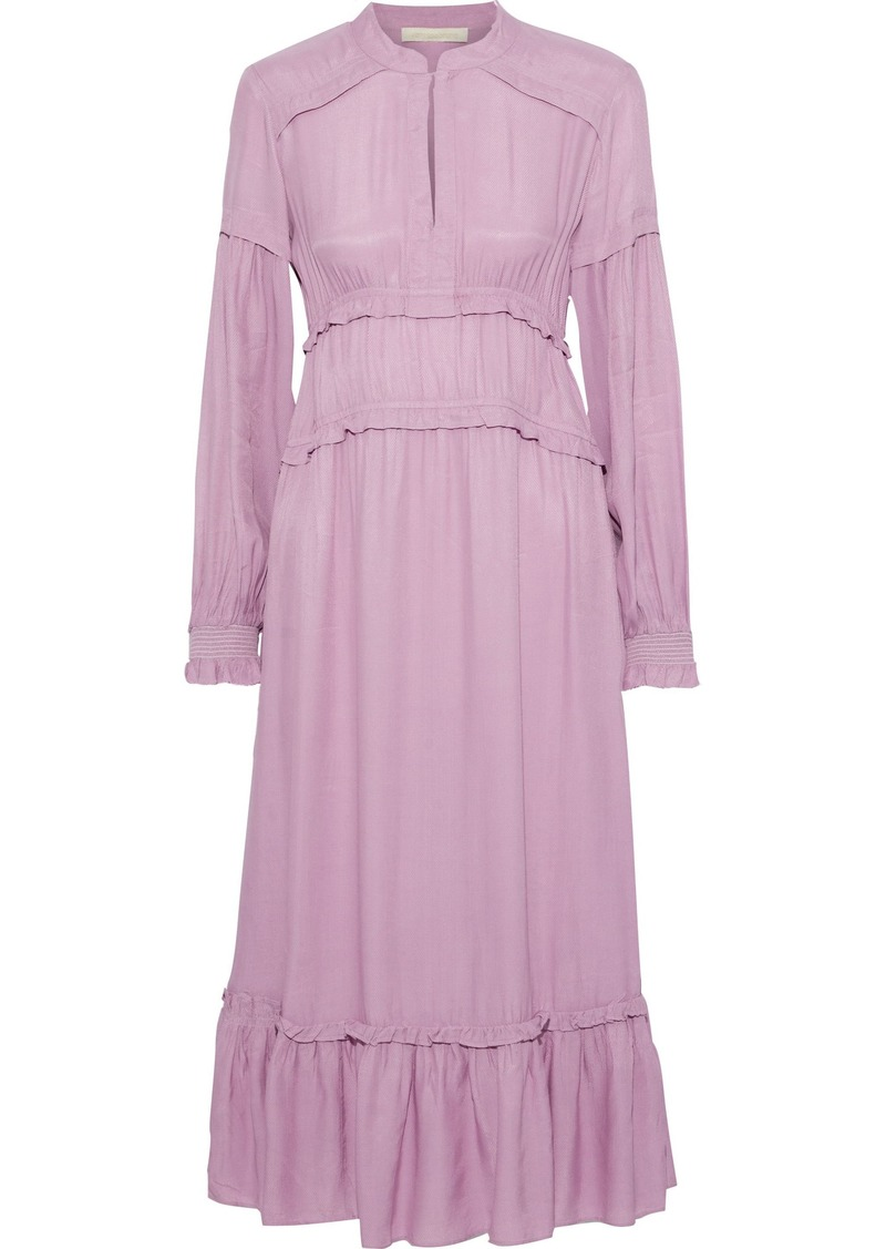 Vanessa Bruno Woman Judikaelle Ruffled-trimmed Satin-twill Midi Dress Lilac