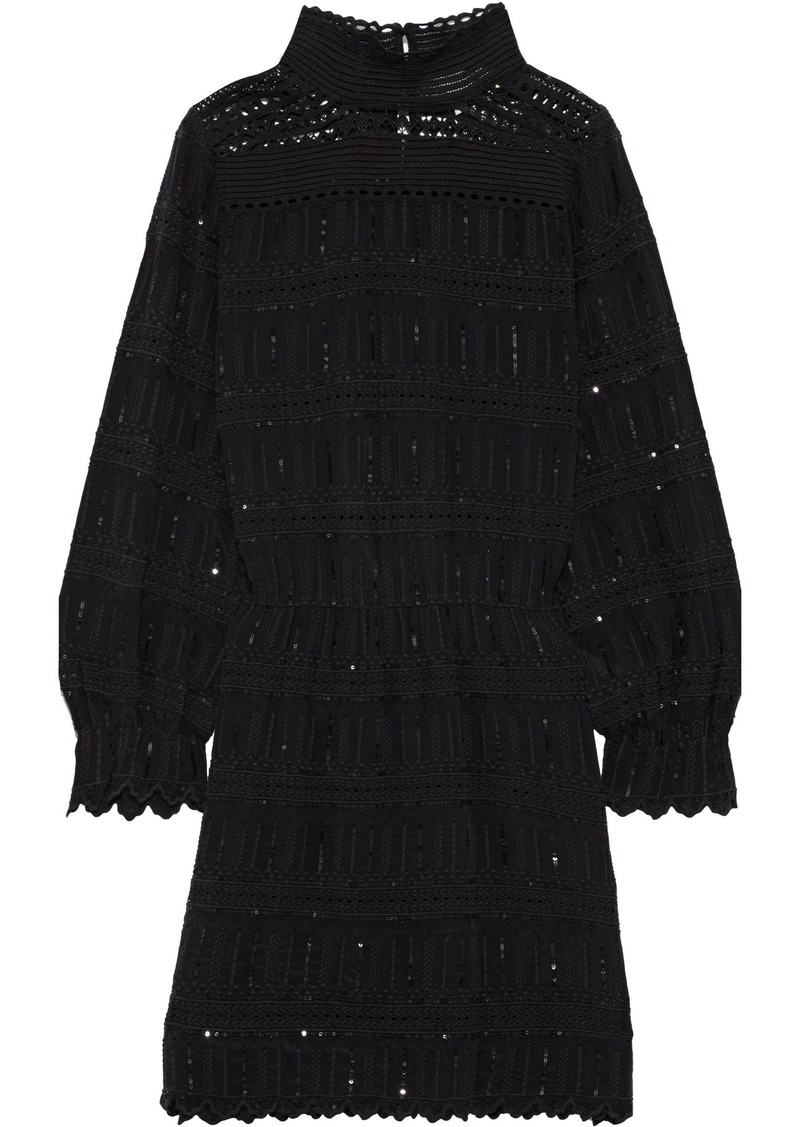 Vanessa Bruno Woman July Crochet-paneled Embellished Broderie Anglaise Crepe Mini Dress Black