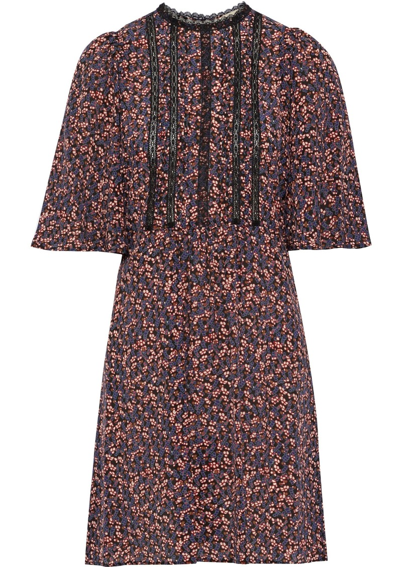 Vanessa Bruno Woman Lace-trimmed Pleated Printed Silk Mini Dress Multicolor