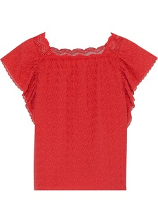 Vanessa Bruno Woman Lace-trimmed Ruffled Embroidered Cotton-gauze Top Red