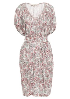 Vanessa Bruno Woman Lalla Belted Floral-print Linen-jersey Dress Off-white