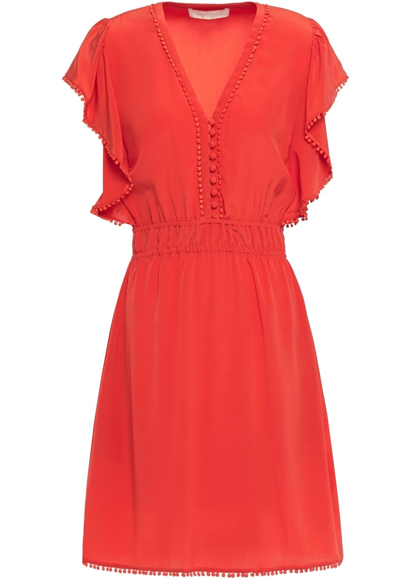 Vanessa Bruno Woman Laurea Embellished Silk Crepe De Chine Mini Dress Coral