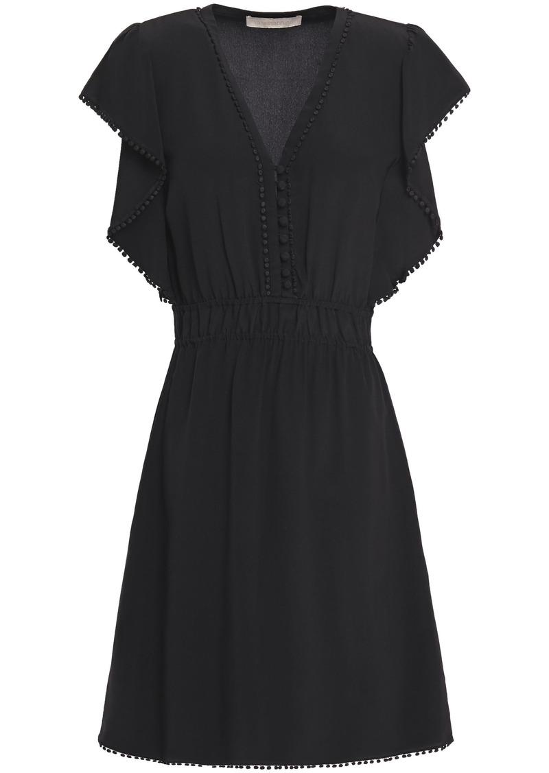Vanessa Bruno Woman Laurea Embellished Silk Crepe De Chine Mini Dress Black