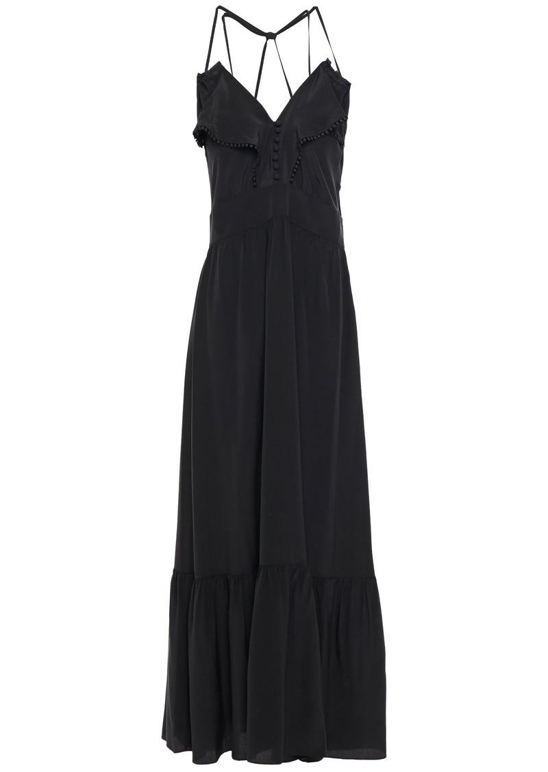 Vanessa Bruno Woman Leda Crochet-trimmed Ruffled Silk Crepe De Chine Maxi Dress Black