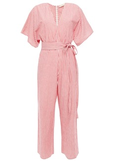 Vanessa Bruno Woman Lelie Cropped Belted Striped Cotton-gauze Jumpsuit Tomato Red