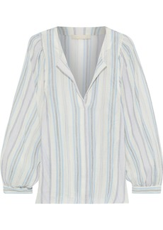 Vanessa Bruno Woman Leni Striped Cotton-gauze Blouse Sky Blue
