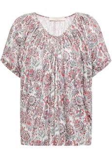 Vanessa Bruno Woman Lenita Gathered Floral-print Linen-jersey Top Off-white